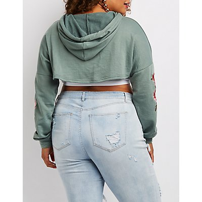 Plus Size Embroidered Open Cropped Hoodie