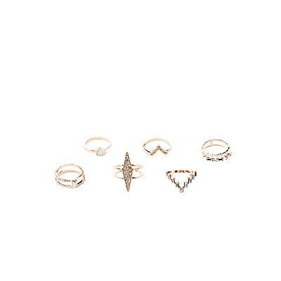 Embellished Stacking Rings - 6 Pack
