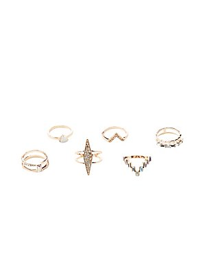 Embellished Stacking Rings - 6 Pack