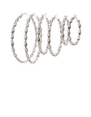 Twisted Hoop Earrings - 3 Pack