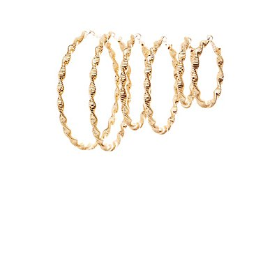 Twisted Hoop Earrings - 3 Pack
