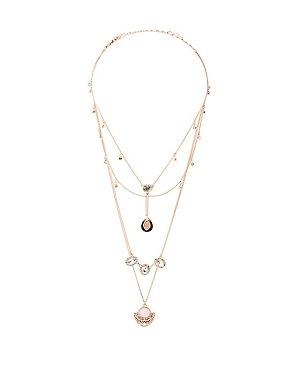 Embellished Layered Choker & Pendant Necklace - 2 Pack