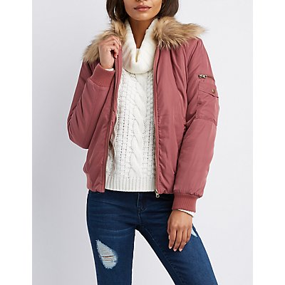 Faux Fur-Trim Bomber Jacket