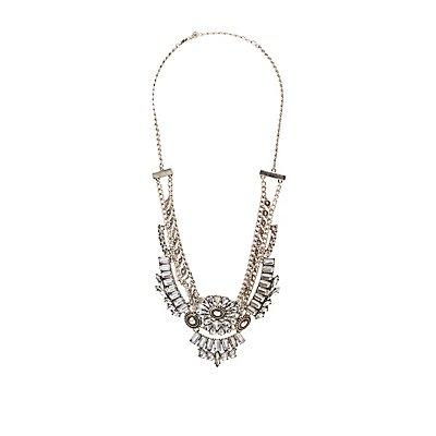 Boho Multi-Chain Crystal Bib Necklace