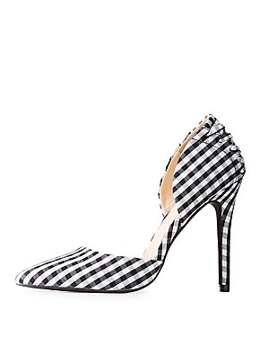 Gingham Lace-Up D'Orsay Pumps