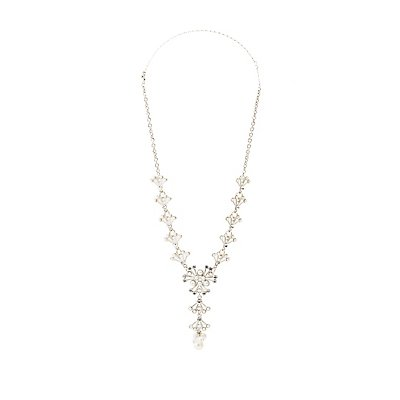 Crystal & Faux Pearl Lariat Necklace