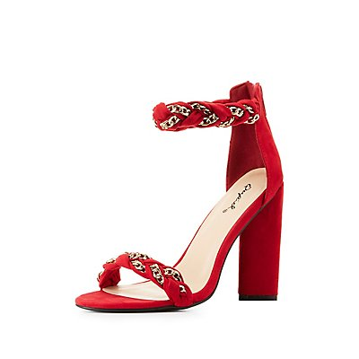 Chain Braided Two-Strap Sandals
