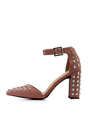 Qupid Studded D'Orsay Pumps