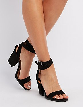 Qupid Two-Piece Ankle Wrap Sandals