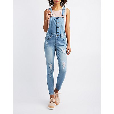 Refuge Destroyed Button-Up Denim Overalls