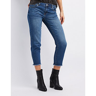 Refuge Frayed Hem Straight Leg Jeans
