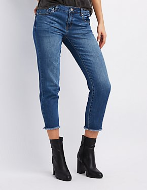 Refuge Frayed Hem Straight Leg Jeans