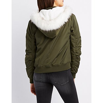 Shearling Lined Faux Fur-Trim Hooded Bomber Jacket