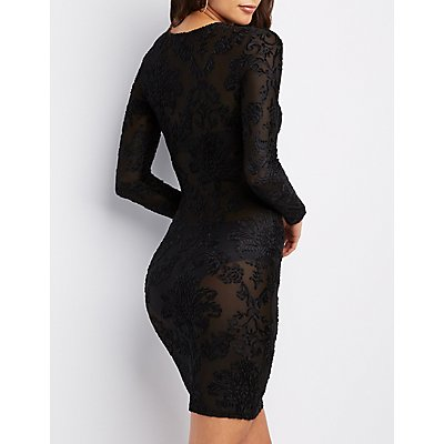 Flocked Velvet Bodycon Dress