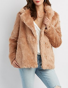 Faux Fur Notched Lapel Jacket