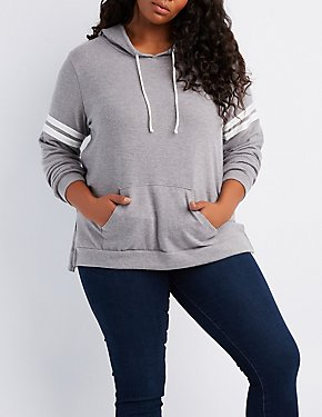 Plus Size Varsity Stripe Hooded Sweatshirt