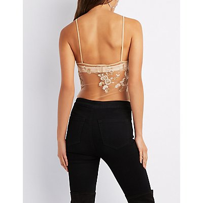 Mesh Sequin Embroidered Bodysuit
