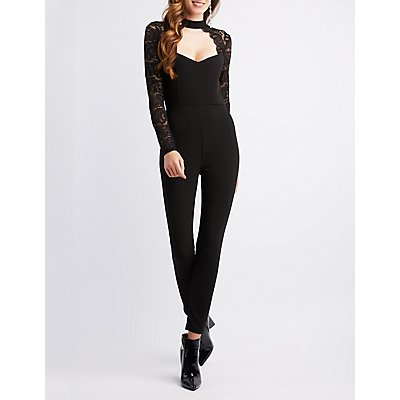 Mock Neck Lace Jumpsuit