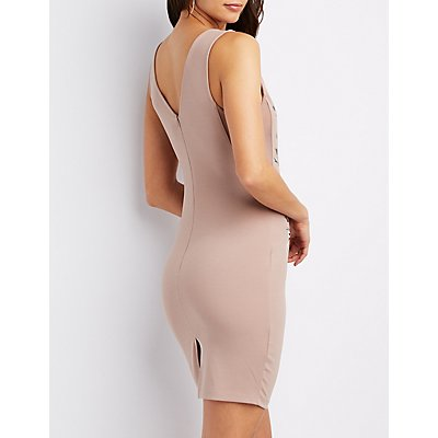 Embroidered Mesh Inset Bodycon Dress
