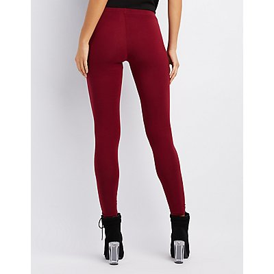 Slashed Stretchy Cotton Leggings