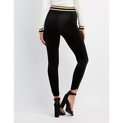 Velvet Leather-Trim Leggings