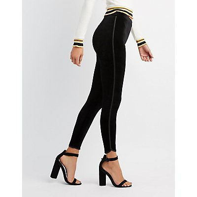 Velvet Leather-Trim Leggings