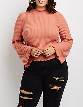 Plus Size Mock Neck Lettuce-Trim Ribbed Top