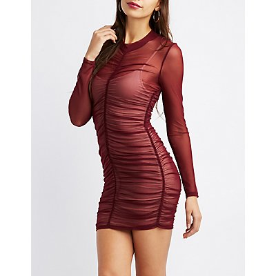 Ruched Mock Neck Mesh Bodycon Dress