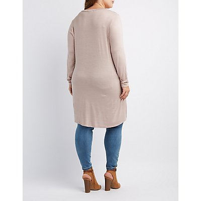 Plus Size Long Sleeve High-Low Tunic