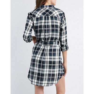 Plaid Button-Up Shirt Dress