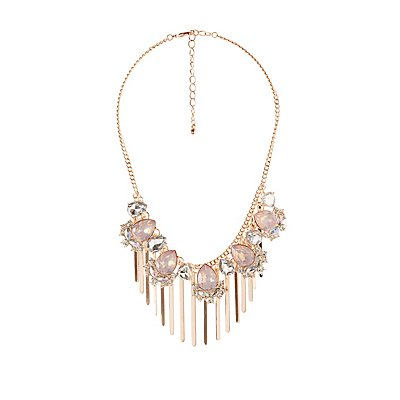 Crystal & Tassel Statement Necklace