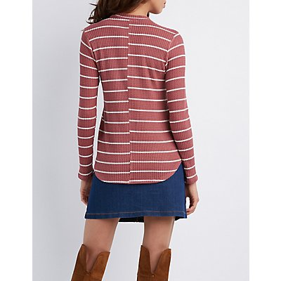 Striped Waffled Knit Keyhole Top