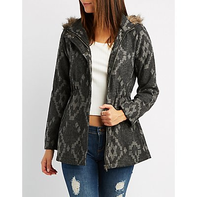 Faux Fur-Trim Hooded Jacket