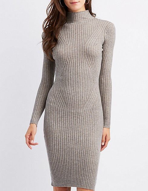cb79d9ac1181 Ribbed Knit Bodycon Sweater Dress | Charlotte Russe