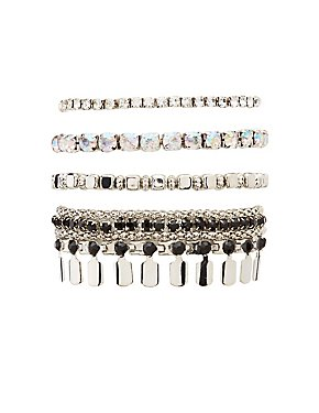 Crystal Embellished Stackable Bracelets - 4 Pack