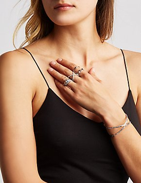 Crystal Cuff Bracelet & Stacking Rings Set