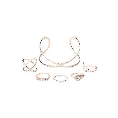 Crystal Cuff Bracelet & Stacking Rings Set
