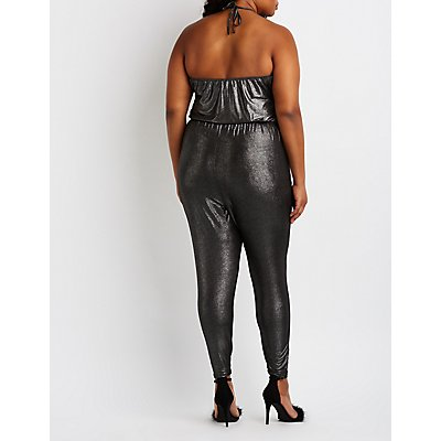Plus Size Metallic Halter Surplice Jumpsuit