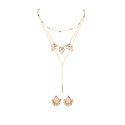 Crystal & Beads Earrings & Necklace Set