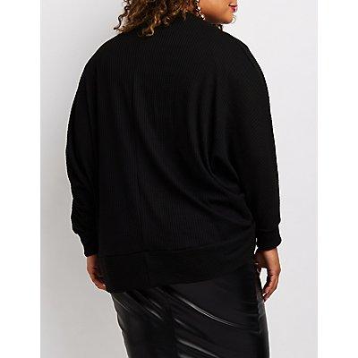 Plus Size Waffle Knit Dolman Cocoon Cardigan