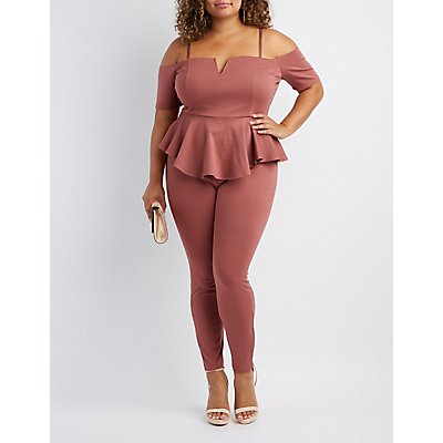 Plus Size Notched Peplum Cold Shoulder Jumpsuit