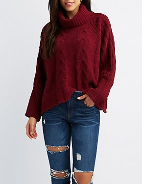 Brushed Chenille Cowl Neck Sweater