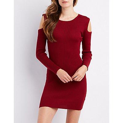 Ribbed Cold Shoulder Sweater Dress