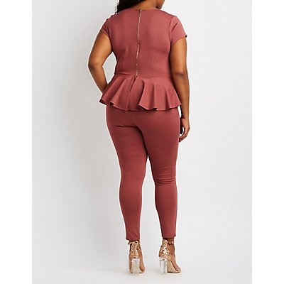 Plus Size Lattice-Front Peplum Jumpsuit