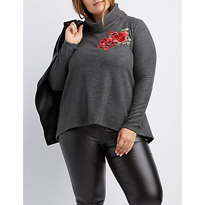Plus Size Floral Embroidered Cowl Neck Split-Back Sweater