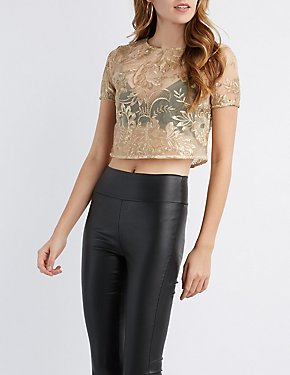 Metallic Sequin Embroidered Mesh Crop Top