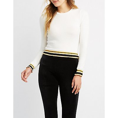 Brushed Stripe Crop Sweater