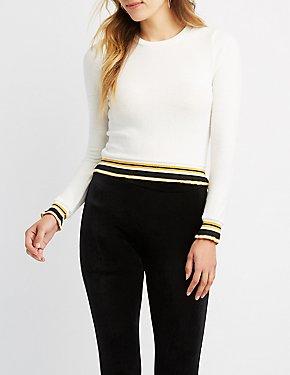 Brushed Stripe Crop Sweater