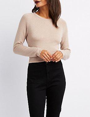 Metallic Knit Crop Top Sweater