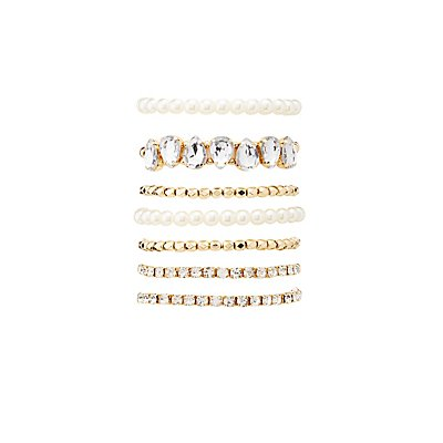 Faux Pearl & Crystal Stretch Bracelets - 7 Pack